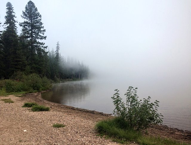 Misty morning at Seeley Lake
