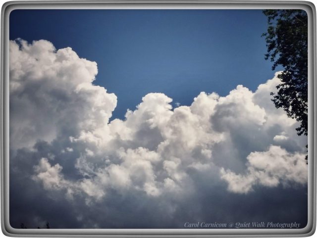 Day 237 #highervibration - After the violent hailstorm, great cumulus clouds cross the sky and soon give way to a clear beautiful blue. Maybe there is a lesson about life here.